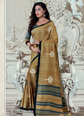 Deep Beige Bhagalpuri Art Silk Embroidered Saree