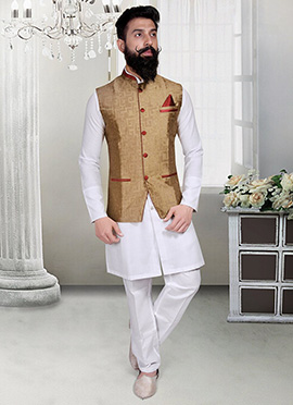 Deep Beige Jacquard Geometric Designed Nehru Jacket