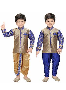 Deep Beige Kids Dhoti Kurta N Sherwani Combo