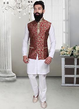 Deep Beige N Red Geometric Designed Nehru Jacket