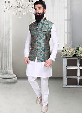 Deep Beige N Turquoise Geometric Designed Nehru Jacket
