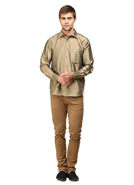 Deep Beige Pure Silk Classic Shirt