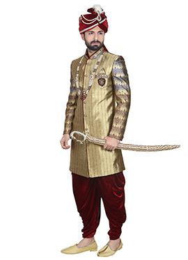 Deep Beige Stripe Patterned Dhoti Style Sherwani