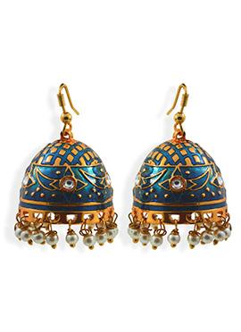 Deep Blue N Gold Meenakari Worked Jhumkas