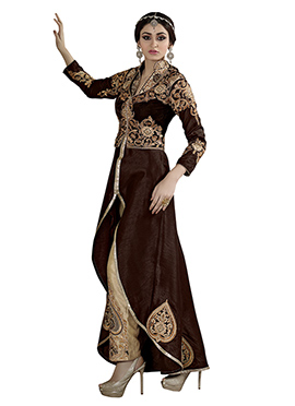 Deep Brown Asymmetrical Straight Pant Suit