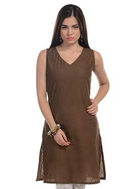 Deep Brown Blended Cotton Striped Kurti