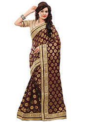 Deep Brown Georgette Jacquard Saree
