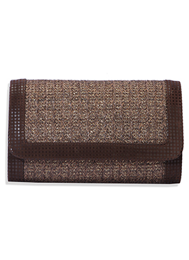 Deep Brown Leather Self Designed Clutch