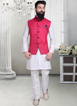 Deep Fuchsia Pink Linen Nehru Jacket