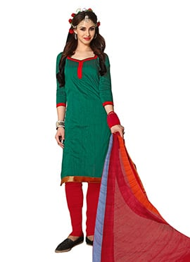 Deep Green Cotton Churidar Suit