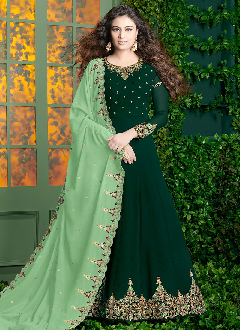 286c2236c5 Buy Dark Green Georgette Anarkali Suit, Sequins , Zari , Embroidered ...
