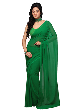 Deep Green Georgette Saree