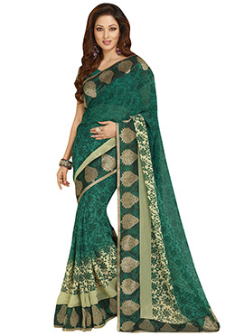 Deep Green N Cream Ombre Georgette Saree