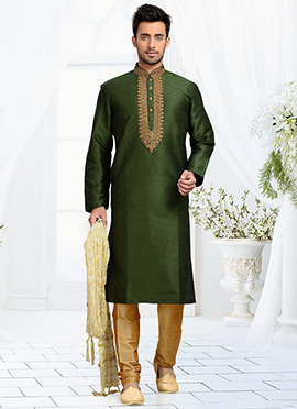 Deep Jungle Green Art Dupion Silk Kurta Pyjama