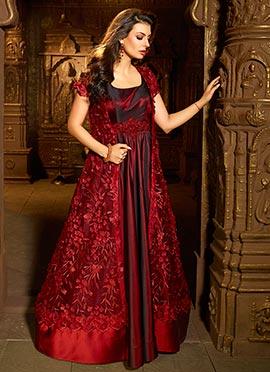 Deep Maroon Satin Silk Abaya Style Anarkali Suit