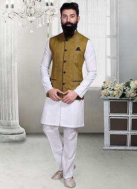 Deep Olive Green Linen Nehru Jacket