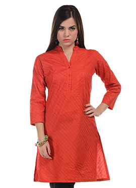 Deep Orange Blended Cotton Striped Kurti