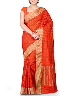 Deep Orange Geometric Patterned Pure Silk Saree