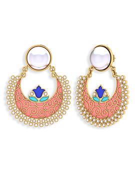 Deep Peach N Gold Pearl Studded Chand Balis