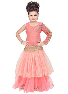 Deep Peach Net Layered Anarkali Gown