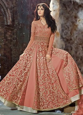 Deep Peach Net Layered Anarkali Suit