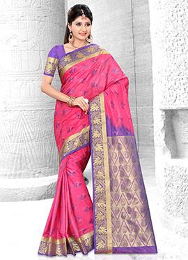 Deep Pink Art Kancheepuram Silk Saree