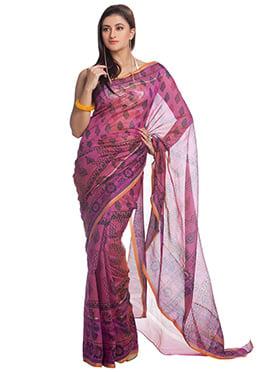 Deep Pink Cotton Foliage Pattern Printed Saree
