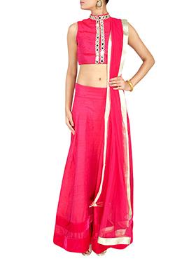 Deep Pink Dupion Silk Lehenga Choli