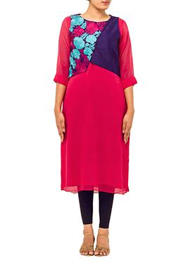 Deep Pink Embroidered Jacket Kurti