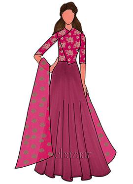 Deep Pink Georgette Anarkali Suit