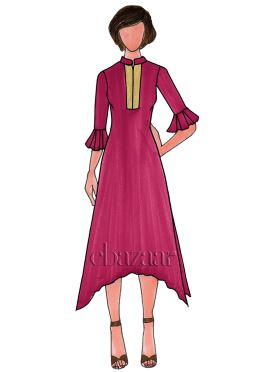 Deep Pink Georgette Plain Long Kurti