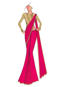 Deep Pink Georgette Saree With Gold Beige Blouse