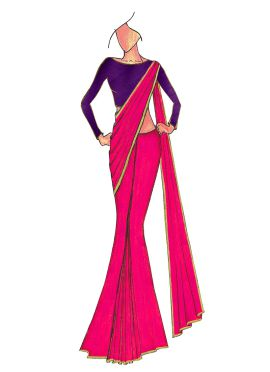 Deep Pink Georgette Saree with Purple Blouse