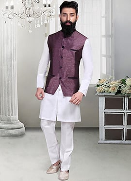 Deep Purple Jacquard Nehru Jacket
