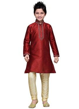 Deep Red Art Silk Boys Kurta Pyjama