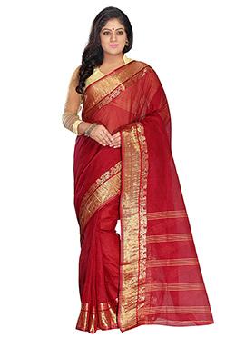 Deep Red Blended Cotton Tangail Border Saree