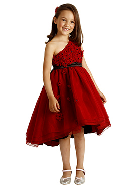 Deep Red Satin Kids Dress