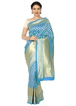 Deep Sky Blue Zari Woven Art Benarasi Silk Saree