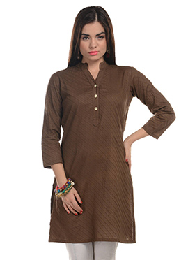 Deep Taupe Brown Blended Cotton Striped Kurti