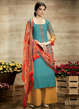 Deep Turquoise Pure Cotton Palazzo Suit