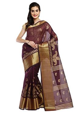 Deep Wine Mysore Blended Cotton Saree