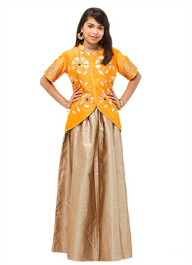 Deep Yellow N Golden Beige Teenage Lehenga