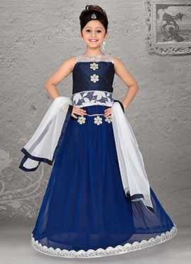 Delightful Blue Net Teens Lehenga Choli