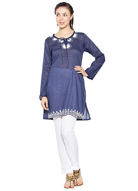 Denim Blue Cotton Short Kurti