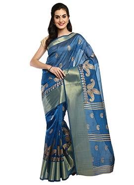 Denim Blue Mysore Blended Cotton Saree
