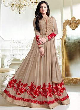 Dhrasti Dhami Beige Abaya Style Anarkali Suit