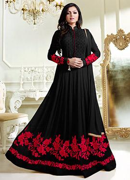 Dhrasti Dhami Black Abaya Style Anarkali Suit