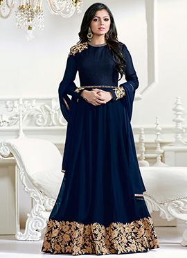 Drashti Dhami Blue Abaya Style Anarkali Suit