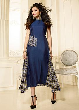 Drashti Dhami Blue Art Silk Kurti