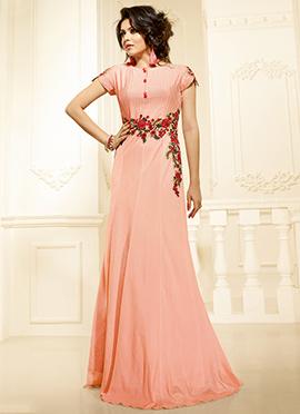 Drashti Dhami Blush Pink Art Silk Gown